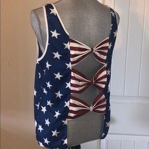 NWOT USA patriotic bow tank top